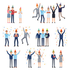 Group of people celebrating birthday. Birthday party, man and woman with gift box and cake. Flat design vector illustration