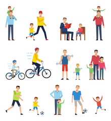 Father and son spending time together. Man with his son playing football, running, riding bikes, reading, having fun. Flat design vector illustration