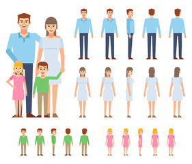 Happy family creation kit. Create your own pose, action, animation. Man, woman, boy and girl generator. Flat design vector illustration