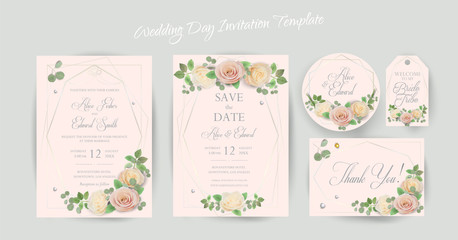 Floral Wedding Invitation elegant, thank you, rsvp, Save the Date, card template Design garden flowers pink peach Rose, Eucalyptus leafs greenery, bouquet, gold geometric frame marble background