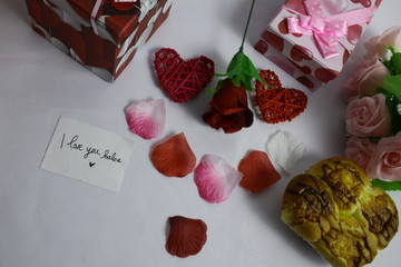 Happy Valentine day with photoshoot of gift boxes and rose