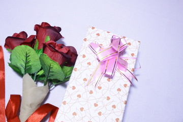Photoshoot Valentine day with bouquet rose and gift boxes