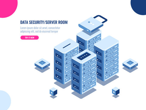 Server room cabinet, data center and database isometric icon, server rack farm, blockchain technology, web hosting, data security, cloud storage, personal data protection, flat vector