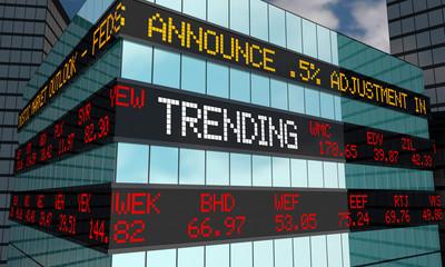 Trending Stock Market Trends Ticker Wall Street Building 3d Illustration