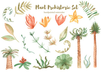 Watercolor set of prehistoric plants. Illustration of palm trees, flowers, mountains, shells, clouds, leaves. Elements and patterns for cards, invitations, children's design.