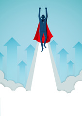 Successful superhero businessmen are flying up into the sky and arrows that rise. business finance success. leadership. startup. creative idea. illustration cartoon vector