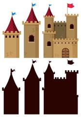 Set of castle building