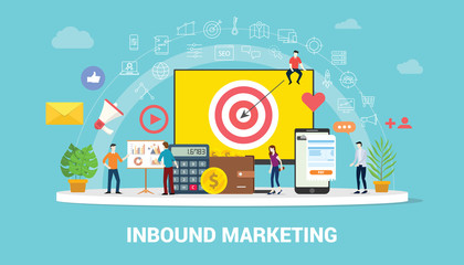 inbound marketing concept strategy team working together with big screen goals and graph chart and icon spread - vector