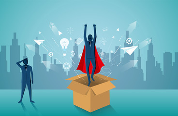 think outside the box. Superhero businessmen fling out of the box are flying up into the sky. startup business concept . creative idea. leadership. illustration cartoon vector