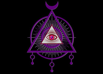 Sacred Masonic symbol. All Seeing eye, the third eye, The Eye of Providence inside triangle pyramid. New World Order. Colorful icon alchemy, religion, spirituality, occultism. Vector isolated or black