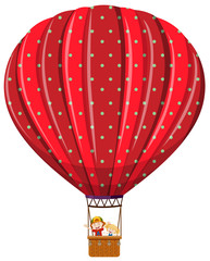 Isolated kids in hot air balloon