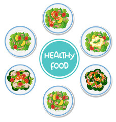 Set of healthy salad