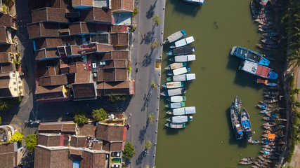 Aerial view panorama of Hoi An old town or Hoian ancient town. Royalty high-quality free stock photo image top view of Hoai river and boat traffic Hoi An. Hoi An is the most popular travel in Vietnam
