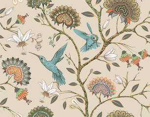 Vector seamless pattern with stylized flowers and birds. Blossom garden with hummingbirds and plants. Light floral wallpaper. Design for fabric, textile, wallpaper, cover, wrapping paper.