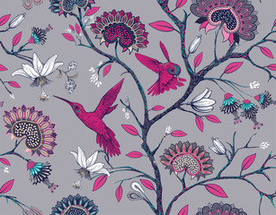 Fotobehang Botanisch Vector seamless pattern with stylized flowers and birds. Blossom garden with hummingbirds and plants. Light floral wallpaper. Design for fabric, textile, wallpaper, cover, wrapping paper.