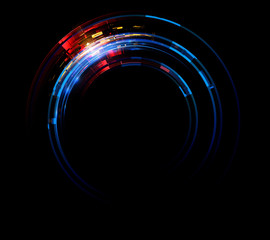 Vivid abstract background. Beautiful design of rotation frame.  .Mystical portal. Bright sphere lens. Rotating lines. Glow ring. .Magic neon ball. Led blurred swirl. Spiral glint lines.
