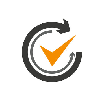 Flat icon of graphical symbol of movement, rotation, cyclic recurrence