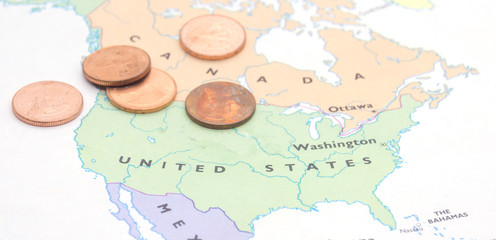 coins on map American