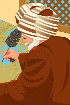 Al-Idrisi Muslim Geographer Illustration
