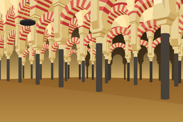 Inside of Alhambra Palace in Spain Illustration