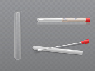Vector medical set for analysis - q-tip with cotton swab and test tube, transparent glass capsule. Individual hygiene toiletries in plastic box with data for hospital. Health care concept.