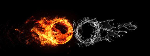 衝突する水と火の輪