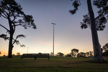 Sun setting on a local football field, Melbourne Australia