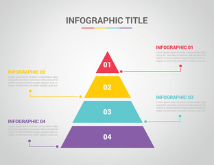 infographic template with pyramid style with free space text for description with 4 four step process with text on the right and left - vector