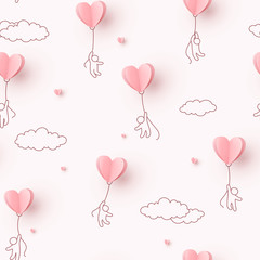 Hearts balloons with people flying on pink background. Vector love seamless pattern for Happy Mother's or Valentine's Day greeting card design.