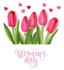Obraz International Womens Day design template. 8 march background with beautiful spring pink tulip and heart confetti isolated on white. Holiday decoration. Vector illustration - fototapety do salonu