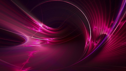 Abstract purple on black background texture. Dynamic curves ands blurs pattern. Detailed fractal graphics. Science and technology concept.