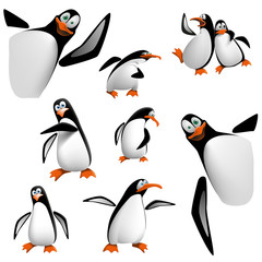 Set of cartoon penguins.