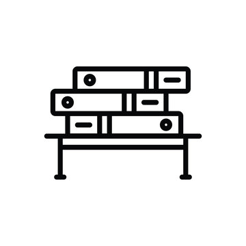 Black line icon for bibliography