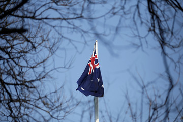 An Australian flag is pictured at its embassy in Beijing