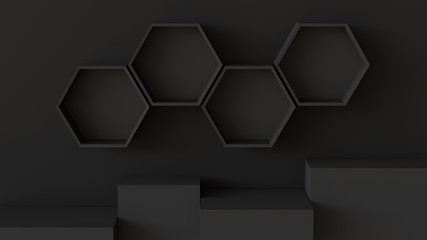 Empty black hexagons shelves and cube box podium on wall background. 3D rendering.