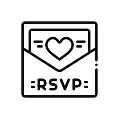 Black line icon for rsvp