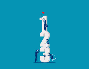 Business people with number. Concept business vector, Working, Number, Corporation.