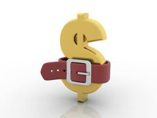 3d rendering Dollar symbol put belt