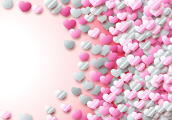 Valentines Day card with scattered colorful foil hearts