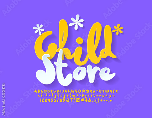Vector bright Sign Childs Store  Unique playful Font  Set of
