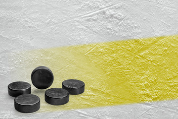 Washers and ice arena fragment with yellow line