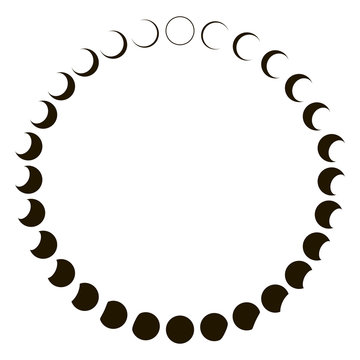 phases of the moon astronomy badge vector set monthly lunar segments of the moon
