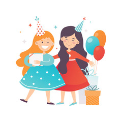 Two cute girls celebrating Birthday. Cheerful friends in party hats. Presents and air balloons. Flat vector design