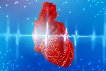 3d illustration of red human heart and cardiogram on futuristic blue background. Digital technologies in medicine