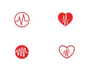 Heart beat wave logo line vector