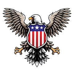 American Eagle with Stars and Stripes Badge Illustration Vector