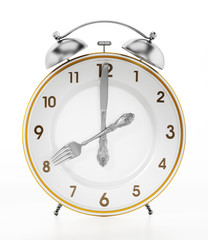 Alarm clock serving plate ith fork and knife. 3D illustration