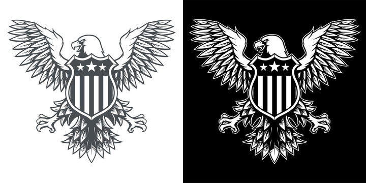 American Eagle with Stars and Stripes Badge Black and White Illustration Vector