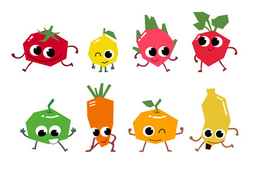 Set of fruit cartoon characters.