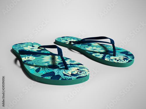 Blue beach slippers for girl with dark blue flowers 3d